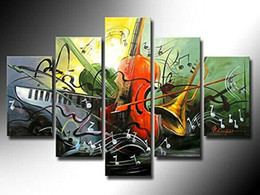 Yijiahe Wall Decor H4 5panel Abstract Guitar Hand Painted Hq Painting On Canvas Decorative Bedroom Living Room Office Ect