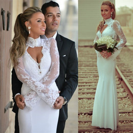 High neck Halter Sexy long mermaid Sheath White dress modest wedding dresses full lace low china 12y 2017 special occasion wedding dresses cheap low halter wedding dress from low halter wedding dress suppliers