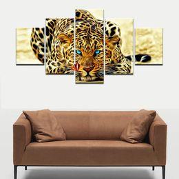 5 Pieces Декор стены Живопись Абстрактные Леопарды Wall Art Холст Picture For Living Room Домашнее украшение Изображение декора стены искусства