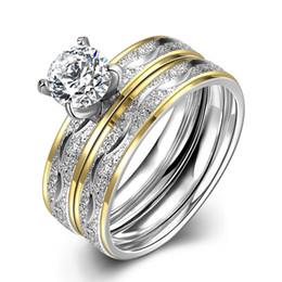 Bague de fiançailles en acier inoxydable 316L en acier inoxydable de diamant de diamant double 6 # 7 # 8 # 9 # Bijoux de mode pour les femmes de qualité supérieure