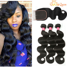 Discount bundle hair lace closures 8A Brazilian Virgin Hair with closure Extensions 3 Bundles Brazilian Body Wave With 4x4 Lace Closure Unprocessed Remy Human Hair Weave