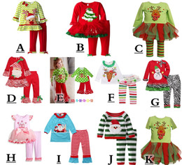 Wholesale 2017 infant xmas elk outfit girls christmas tree deer cartoon t shirt ruffle pants sets children polka dot tops color choose free