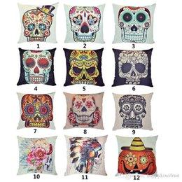 punk skull skeleton printed cushion cover lumbar waist chair car pad hug pillow case couch pillows hug pillowcase - Chair Cushion Covers