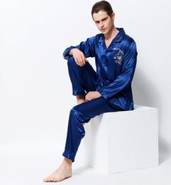 2017 nuevos hombres pijamas de seda de raso pijama de bordado de dragón establece mangas largas de lujo emulación de ropa de dormir de seda Pijama 3313