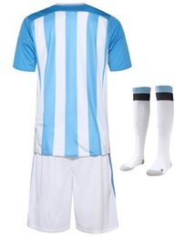 Camiseta de futbol messi niños 2016 Equipe de Argentina jerseys kids kits de fútbol 16 Maillot de foot enfants camisa + shorts + calcetines
