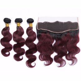 Discount ombre two tone color virgin hair Two Tone 1B 99J Burgundy Ombre Body Wave Virgin Hair With Lace Frontal Wine Red Dark Root Ombre Human Hair Bundles With Closure