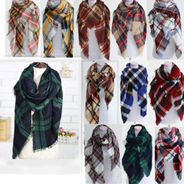 Discount women scarves dhl shipping Women fashion Plaid Warm Soft Winter Blanket Scarf Oversized Tartan Scarf women Shawl Scarf Scarves & Wraps DHL free shipping