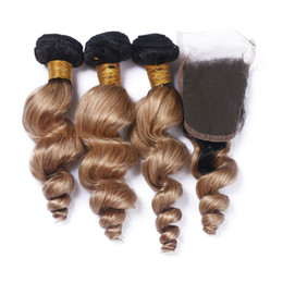 Discount ombre brazilian loose wave closure Two Tone 1B 27 Honey Blonde Ombre Virgin Hair With Closure Light Brown Ombre Hair With Closure Loose Wave 3Bundles With Lace Closure