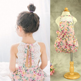 online shopping Toddler Baby Floral Lace Rompers One piece Halter Cotton Cute Kids Girls Summer Romper Mix Color