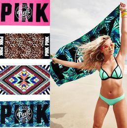 VS toalha de praia rosa Toalhas de banho de letra cor-de-rosa toalha de esportes de fitness VS leopardo banho de banho de diamante Toalhas de banho 145 * 75 centímetros KKA1495