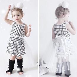 Girls Black White Sleeveless Plaid Dress Online  Girls Black ...