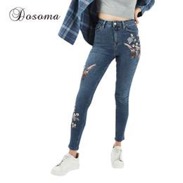 Discount Skinny Jeans Flowers | 2017 Flowers Printing Skinny Jeans ...