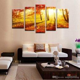 5 Группа Золотой лес холст искусства Картина современного абстрактного искусства стены холст печать для украшения дома картины на холсте-декора стены холст