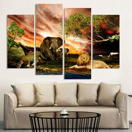 Modern Home Decor Oil Painting Wild Animals Landscape Pictures Decorative Paintings 4 Panel Wall Art Printed On Canvas No Framed
