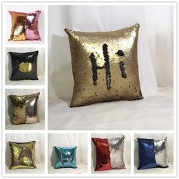 Beddingoutlet Mermaid Sequin Cushion Cover Red Two Side Sequin Pillow Case For Wedding Pillowcase Home Decor 40cmx40cm