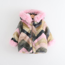 Wholesale 2017 Baby Girls Faux Fur Hooded Outwear Kids Girls Autumn Winter Fashion Coats Babies Christmas Luxury Clothing