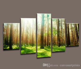 Home Decor Canvas Of 5 Panel Forest Painting Wall Art Picture For Home Decoration Canvas Print Artwork Large Canvas Art Cheap