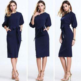 online shopping 2017 Hot Dark Navy Women Office Dresses Half Sleeves Knee Length Clothing Women Work Wear Casual New Design Plaid Patchwork Dress FS0367