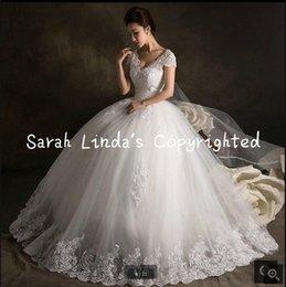 Wholesale El cordón árabe del vestido de boda del estilo del vestido de bola del envío libre con estilo appliques los vestidos de boda modestos hinchados de la princesa vestidos de novia musulmanes