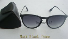 1pcs high quality fashion sunglasses for man woman erika eyewear designer sun glasses matt black frame 52mm lens with case and box discount designer frames