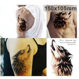 Large 3d Sketch Horrible Brown Howl Wolf Head Designs Cool Chest Body Art Temporary Tattoo Stickers Fake Big Tattoos