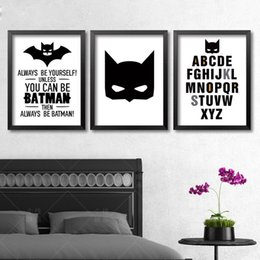 batman quote canvas art print poster wall pictures for home decoration black and white prints wall decor art frame not include cheap white poster frames