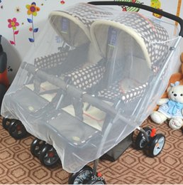online shopping Double Baby Twins White Cart Mosquito Net Pram Pushchair Cover Carriage For Baby Stroller