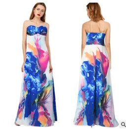 Discount Floral Strapless Maxi Dress | 2017 Strapless Floral Long ...