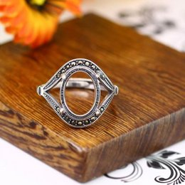10x13mm oval cabochon semi mount wedding art deco 925 sterling silver ring fine silver international popular jewelry do old retro - Old Wedding Rings
