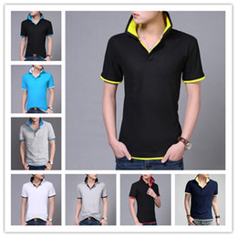 2017 wholesale shirts for summer 2016 New Hot Korean t Shirts For Men Lapel Slim Fashion 15 Colors Tee Tops Summer Comfortable Short-Sleeved t Shirts inexpensive wholesale shirts for summer