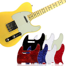 online shopping Scratch Plate Standard Size Ply White Pickguard for Tuff Dog Tele Telecaster Electric Guitar Multi Colors Ply Aged Pearloid Pickguard