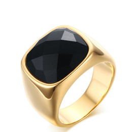 meaeguet gents jewelry vintage rings gold color stainless steel ring mans black onyx wedding ring rc 260 black onyx gold ring deals - Black Onyx Wedding Ring