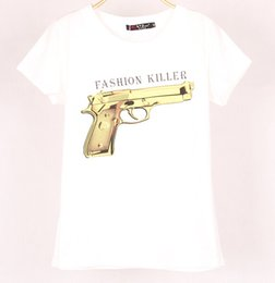 Wholesale Vente en gros EAST KNITTING E187 Nouveau Arrive Gun Print T shirt pour les femmes Stretch manches courtes Fashion Killer imprimé Top Tee