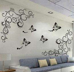 Wholesale 3d Lowest Price Calssic Black Butterfly Flower Wall Sticker Home Decor Poster Flora Butterflies Tv Wall Beautiful Decoration