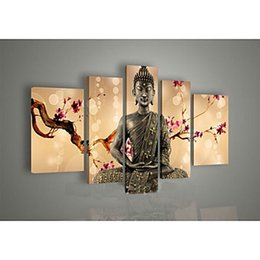 5 Panels Hand Painted Wall Art Religion Buddha Oil Painting On Canvas Wall Art For Home Decorations Wall Decor For Living Room
