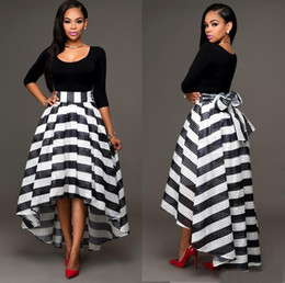 Striped Midi Skirt Online | Black White Striped Midi Skirt for Sale