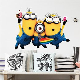 Discount gifts for kids children PVC minions wall stickers kids room decoration diy pvc despicable me movie cartoon home decals children gift 3d mural arts