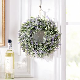 Wholesale Lavender Artificial Flowers Real Touch Artificial Lavender Garland Ivy Vine Hanging Wreath Home Deco For Wedding Decoration