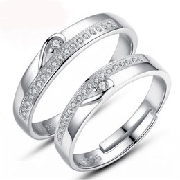 discount simple diamond wedding ring sets fashion jewelry white gold plated half heart simple circle real - Simple Wedding Ring Sets