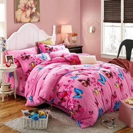 Discount pink butterfly duvet cover Wholesale- Flannel Winter Thick Duvet  cover sets pink Butterfly Full