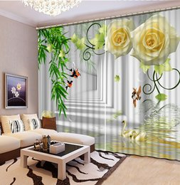 online shopping fashion decor curtain home decoration for bedroom decorative home decor white rose flower curtains - Decorative Curtains