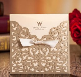 Wholesale Personalized Wedding Invitation Cards gold wedding invitation Thank You cards modern designs card DHL in low price