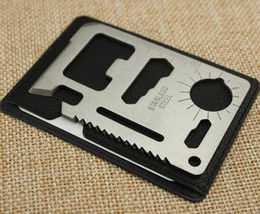 online shopping 11 in Multi Tool Army Hunting Survival Kit Pocket Credit Card Knife Camp Widely Used For Camping Sport Stainless Steel Double serrate