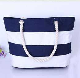 Discount Striped Canvas Beach Bag | 2017 Striped Canvas Beach Bag ...