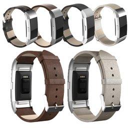 CALIENTE Para la carga 2 de Fitbit de la venda Pulsera elegante de la correa de cuero de la cabeza del metal para la carga 2 el adaptador del acero inoxidable del wristband de la correa del reemplazo