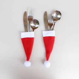 Wholesale Wholesale10pcs Lot Red Santa Hat Christmas Fork Bags Tableware Silverware Holders Pocket Dinner Home Table Decor Christmas Items Cheap Modern