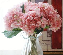 Artificial Hydrangea Flower Head 47cm Fake Silk Single Real Touch Hydrangeas 8 couleurs pour les centres de mariage Home Party Fleurs Décoratives