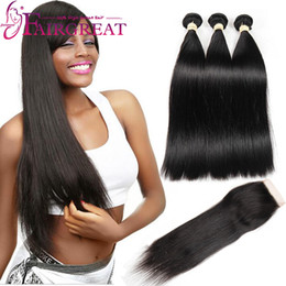Brazilian Straight Human Hair Bundles With Closure Brazilian Human Hair With Lace Closure 100% Unprocessed Straight Hair Weaves With Closure from bundle hair lace closures manufacturers