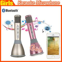 Le plus récent K068 mini joueur de karaoke de bluetooth microphone sans fil de condensateur avec le haut-parleur de microphone KTV chantant le disque pour des téléphones intelligents Tablette d'ordinateur