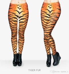 Wholesale 2017 Leggings de la manera de la impresión de la manera para las mujeres Polaina libre del tamaño Polainas suaves pantalones leggings florales de la yoga para el gimnasia de las mujeres Patrón de la piel del tigre